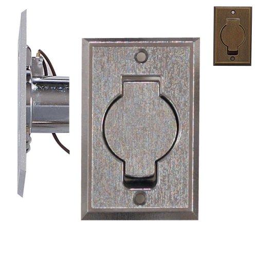 Prise métal de sol extra plate rectangle porte ronde rustique